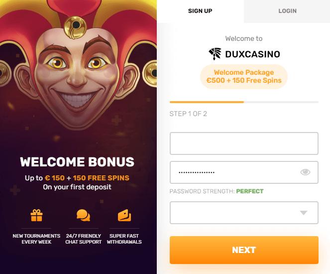 Wie kann ich mich bei Dux Casino registrieren?